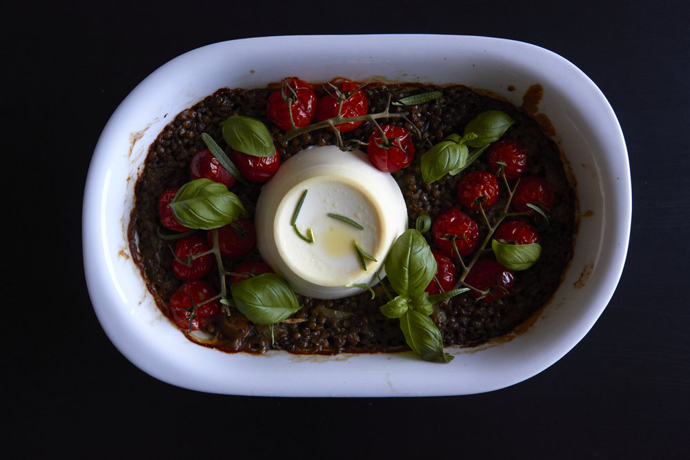 Baked Ricotta with Lentils, Herbs and Roasted Tomatoes   In Carina's Kitchen