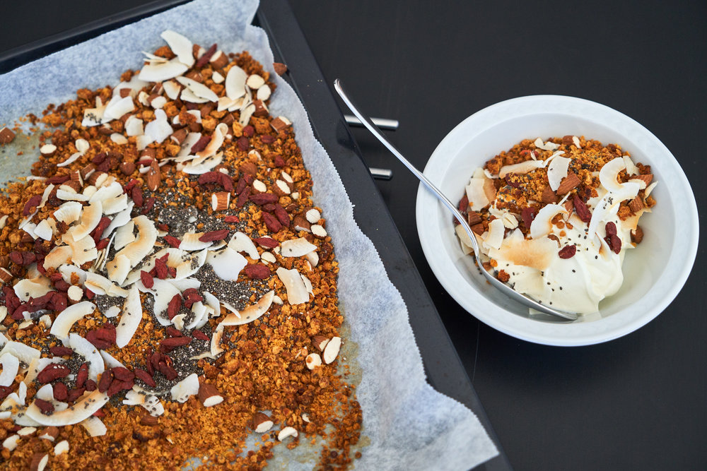 Lentil Granola for a Protein-Rich Breakfast - enjoy with Greek yogurt | In Carina's Kitchen