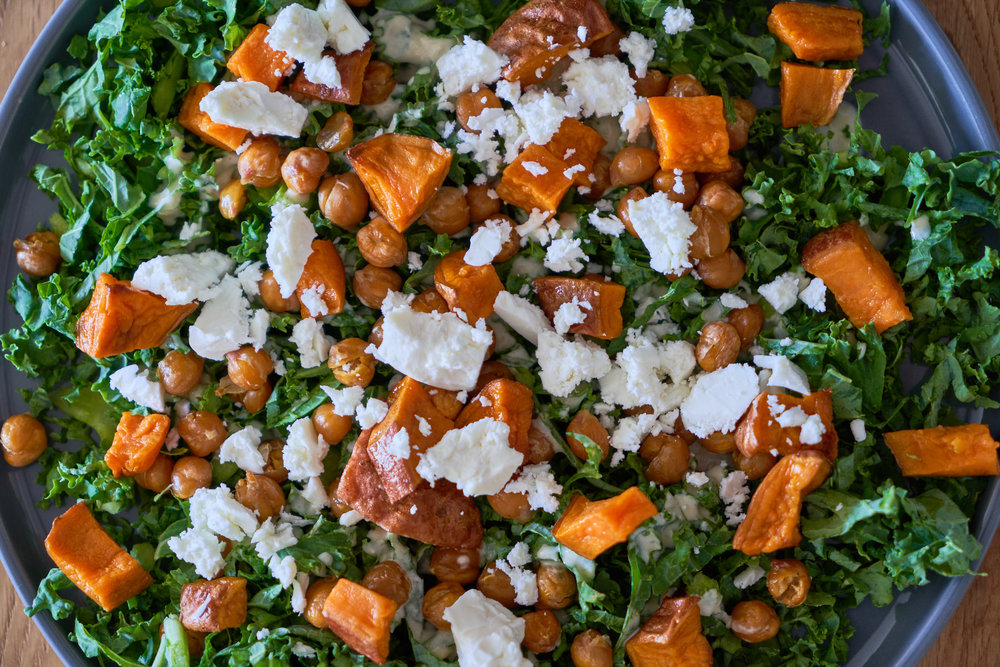 Kale Salad with Tangy Tahini Dressing - a closeup   In Carina's Kitchen