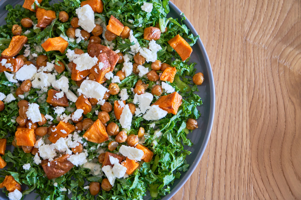 Kale Salad with Tangy Tahini Dressing - with feta   In Carina's Kitchen