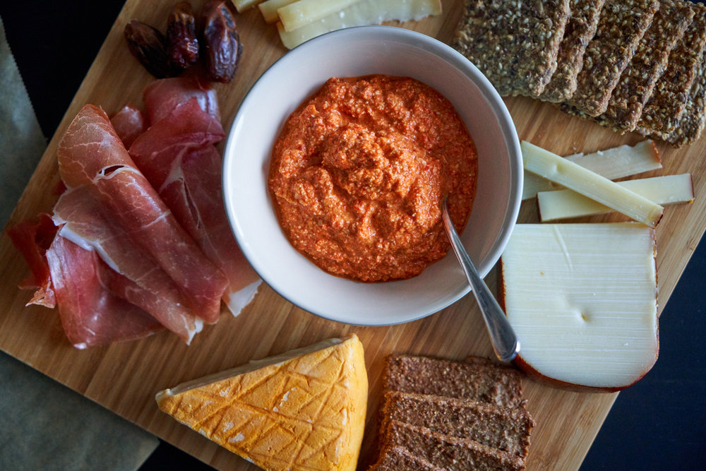 Roasted Red Pepper Pesto - red pepper pesto enjoyed with cheese and crackers | In Carina's Kitchen