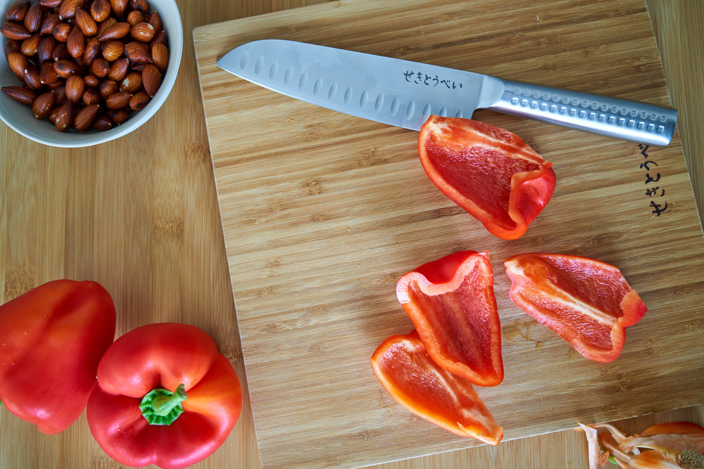 Roasted Red Pepper Pesto - the peppers being prepared | In Carina's Kitchen