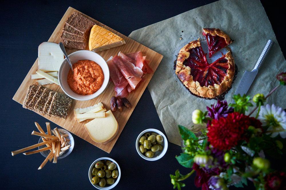 Sugar-free Peach Galette - plum galette accompanying a cheese board | In Carina's Kitchen