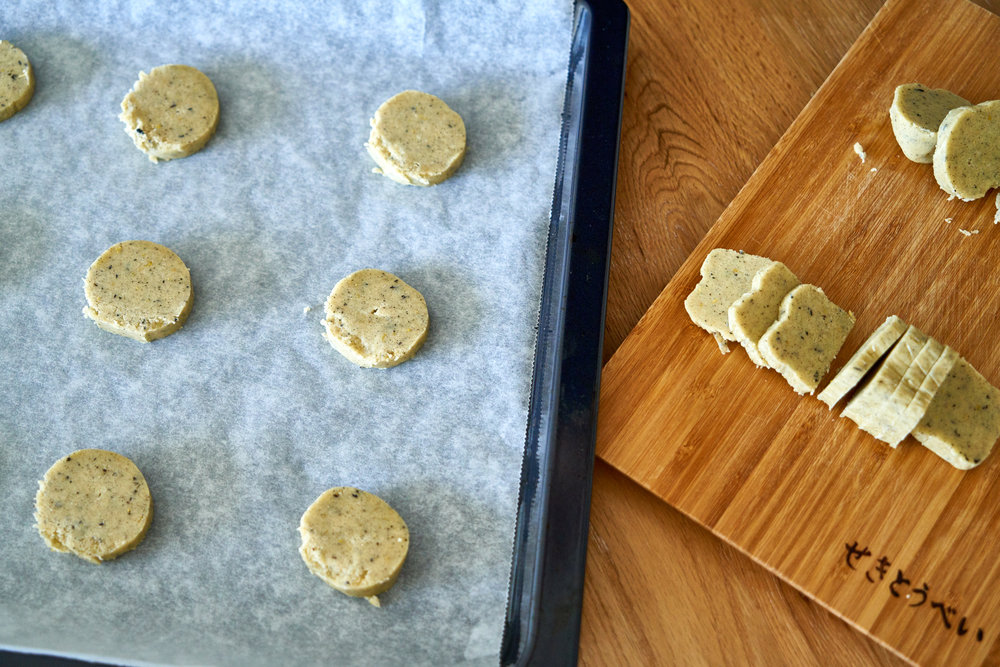 Earl Grey Cookies Dipped in White Chocolate - sliced cookie dough | In Carina's Kitchen