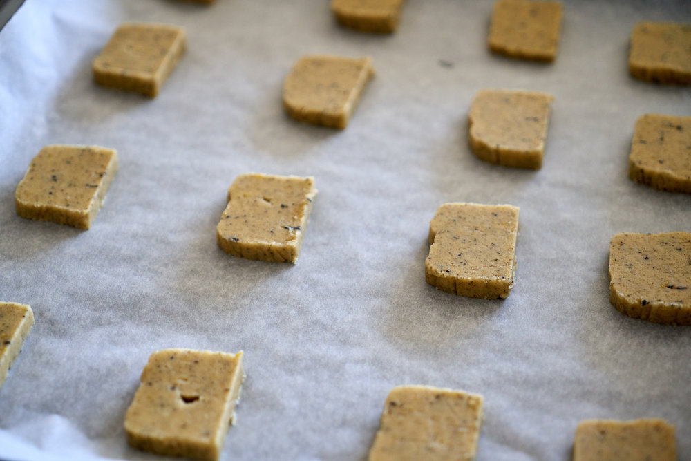 Earl Grey Cookies Dipped in White Chocolate - sliced cookies ready for baking | In Carina's Kitchen