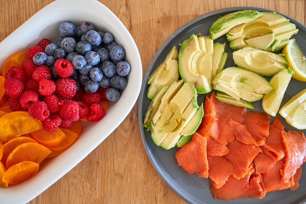 Making a Delicious Brunch for 4 - blueberries, raspberries and kaki fruits and salmon, avocado and lemon   In Carina's Kitchen