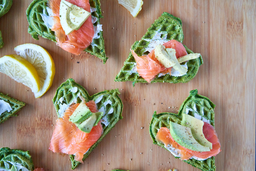 Spinach Waffles with Salmon, Cream Cheese & Avocado | Low Carb Recipes | In Carina's Kitchen