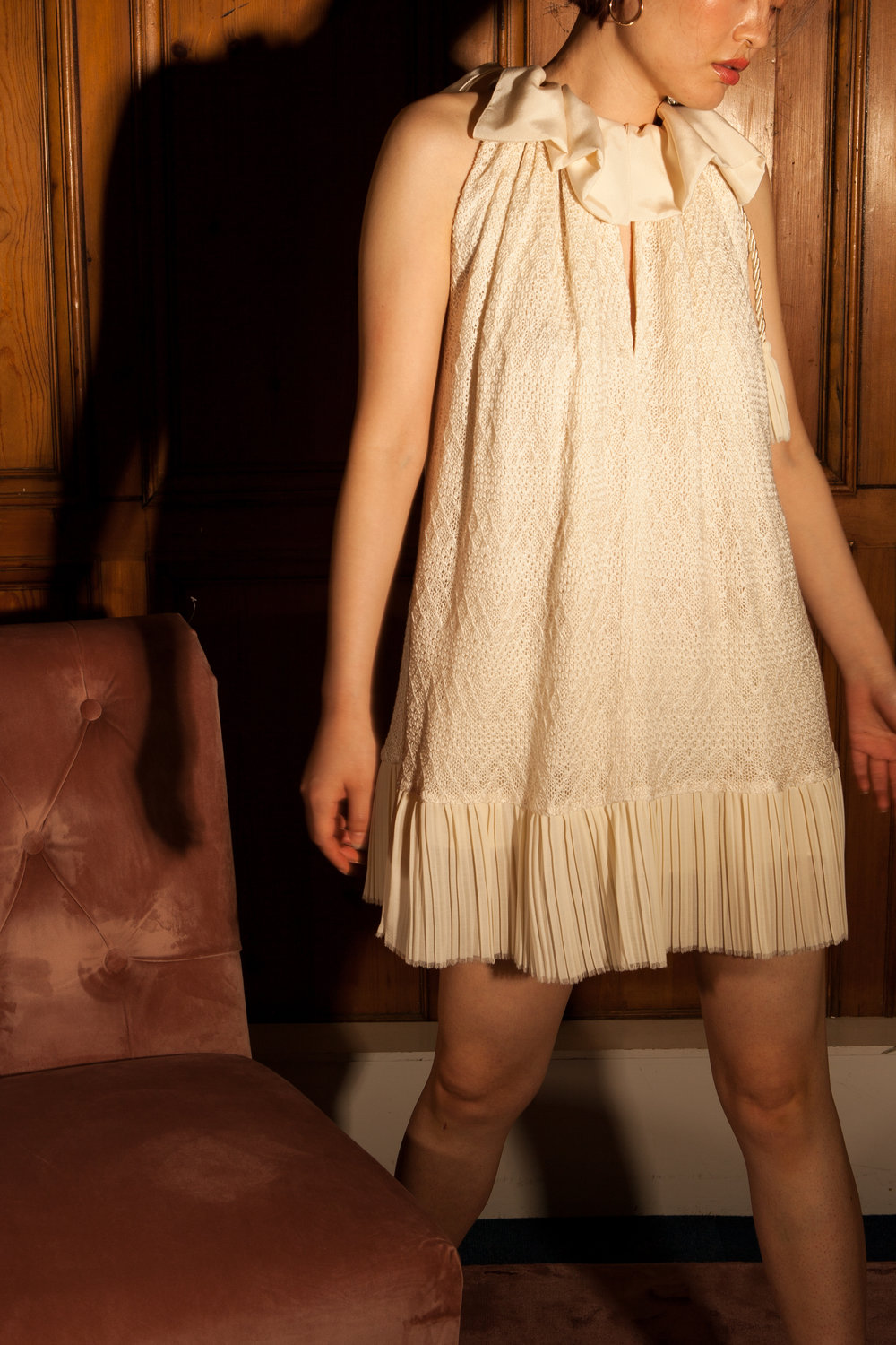 Short cream sustainable dress by Baue