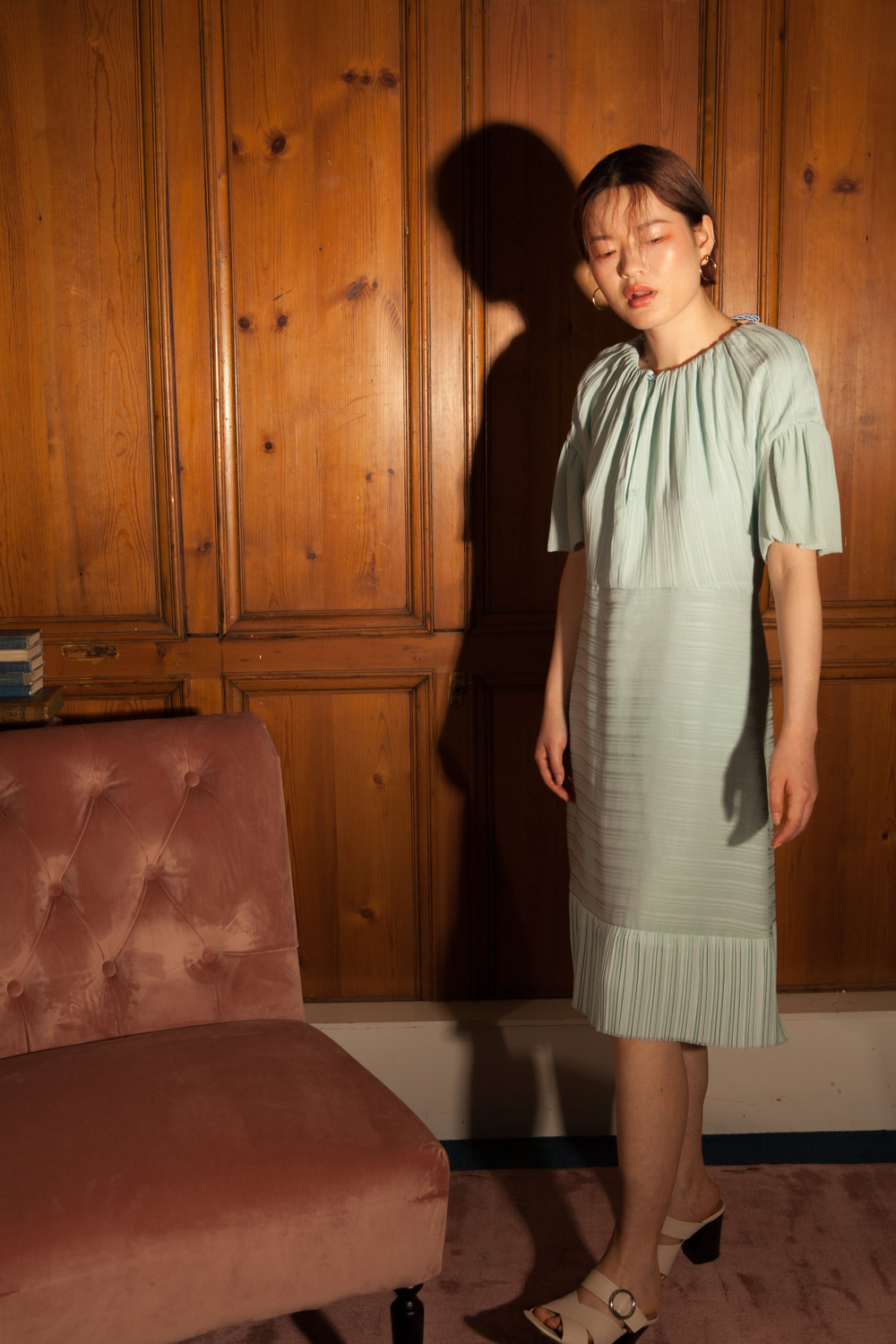 Sustainable mint dress by Baue