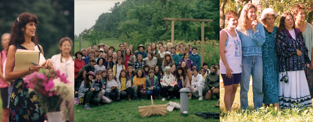 (From Left to Right) Gail at one of the first WHC at Blazing Star Herb School, One of the early NE WHC held at Blazing Star Herb School, Teachers at one of the early NE WHC: Robin Rose Bennett, Kate Gilday, Pam Montgomery, Margi Flint and Deb Soule.