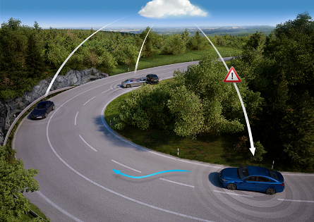 A use case of open data sharing — cars around the bend immediately become aware of the accident around the corner (Source:  Geotab )