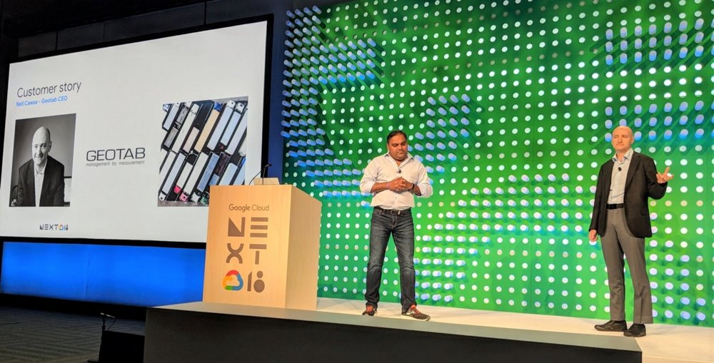 Geotab CEO, Neil Cawse, spoke about the power of BigQuery in a spotlight session at  Google Cloud Next 2018 (Source:  Geotab )
