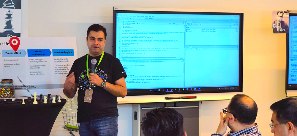 Nitesh hosting a training session for the Omnia AI team at Deloitte. Image: Deloitte office in Toronto.