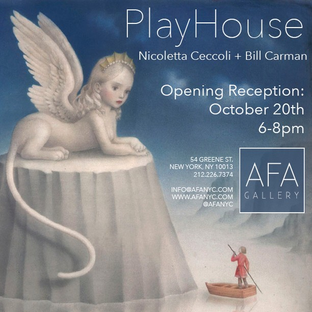 Join us October 20th, from 6-8pm for the opening of PlayHouse: an exhibition of new paintings by Nicoletta Ceccoli (@nicolettaceccoli) and Bill Carman (@billcarmanart). #afanyc