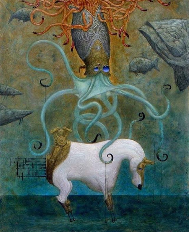 "Join us October 20th, from 6-8pm for the opening of PlayHouse: an exhibition of new paintings by Bill Carman (@billcarmanart) and Nicoletta Ceccoli (@nicolettaceccoli). Image: Bill Carman, ""Giving Octdusa a Ride""  #afanyc"
