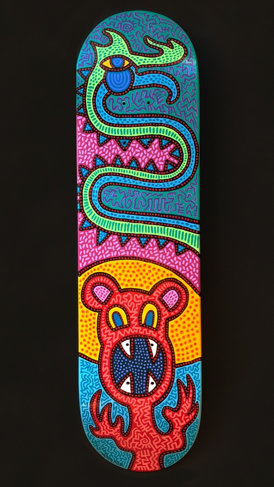"""Skate Totem""""  Mixed Media on Wooden Skateboard Deck  31 x 8 x 3 inches   INQUIRE"""