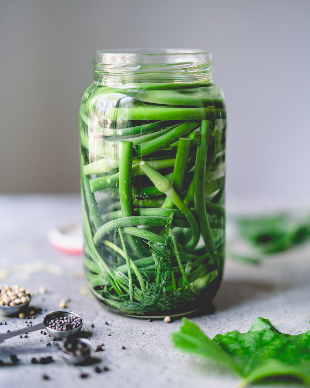 Lacto-Fermented Garlic Scapes - for one liter/quart jar