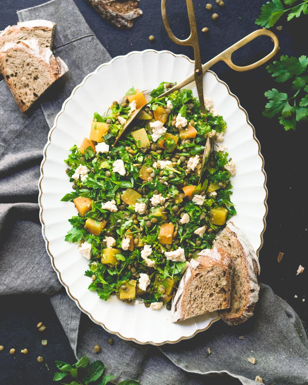 Salade betterave, lentilles et persil - 2-4 portions