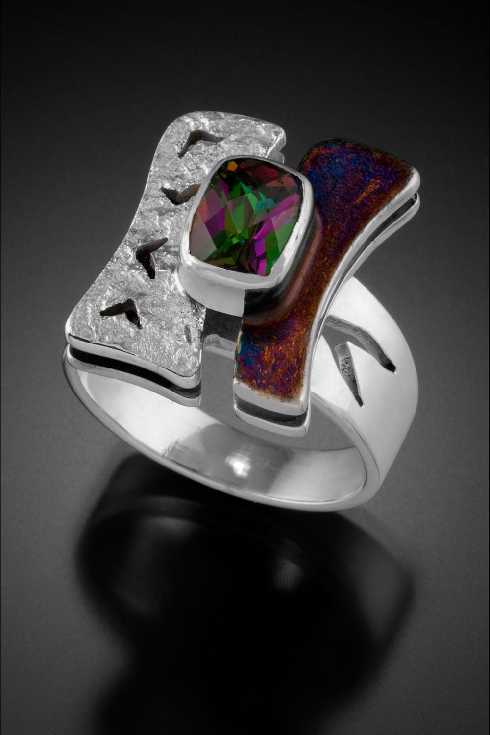 "Sterling Silver ""H"" Ring with Mystic Topaz"