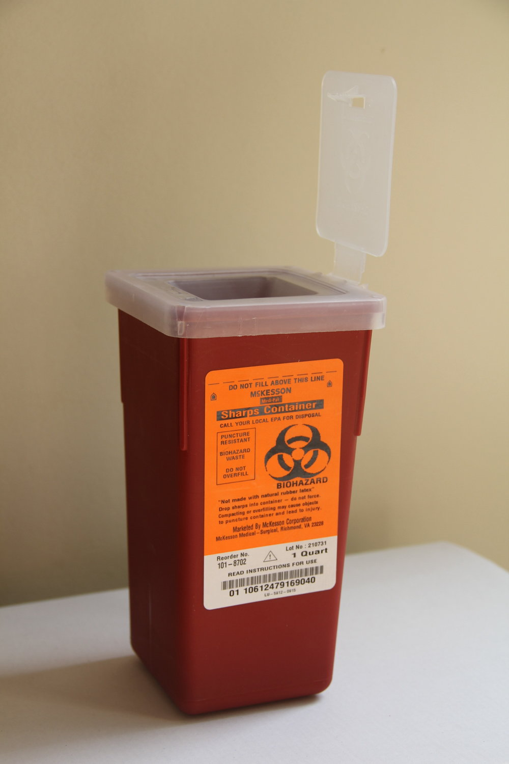 "Sharps container - Sharps containers are vital to safe syringe disposal. When regulation sharps containers are not available, please use another thick, rigid plastic container such as a detergent bottle, screw top beverage bottle, etc). If you're using a non-sharps container, clearly mark it ""DANGER: SHARPS"" or ""BIOHAZARD"". This will protect municipal/sanitation workers from needlestick injury."