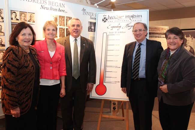 Photo from left to right: Adelia Garro Simplot, Patricia Lachiondo, Mayor Dave Bieter, Guillermo Echenique and Patty Miller at Basque Museum & Cultural Center fundraising kickoff.