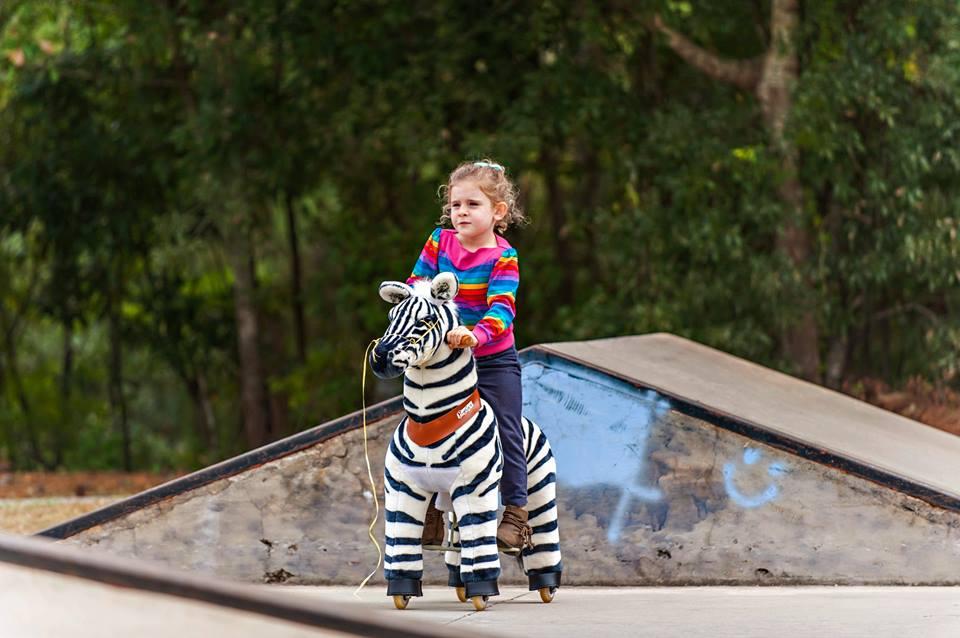 riding a zebra