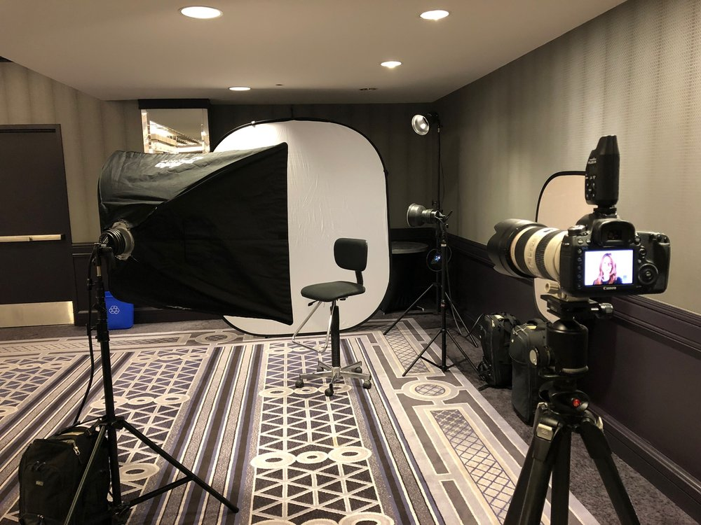 On-site Headshot studio setup  at a Los angeles trade show