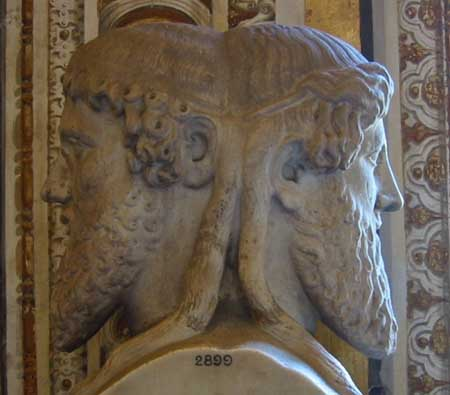 The two-headed Roman God Janus.