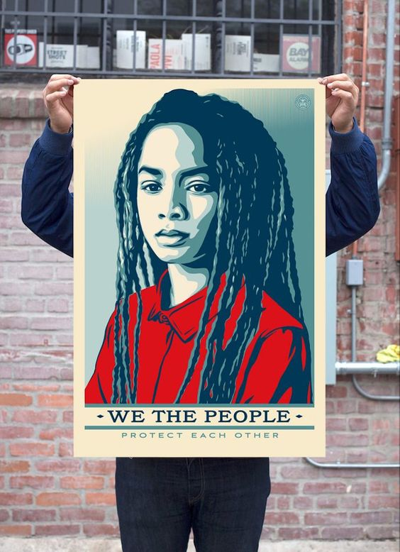 We The People inauguration poster by Shepard Fairey, Ernesto Yerena and Jessica Sabogal