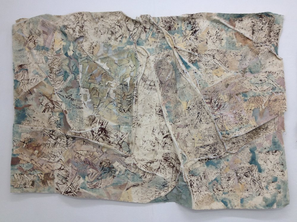 Juliet Duckworth  Mapscape (2017)   1.4m x 2m calico, acrylic, mud, stitch and oil paint