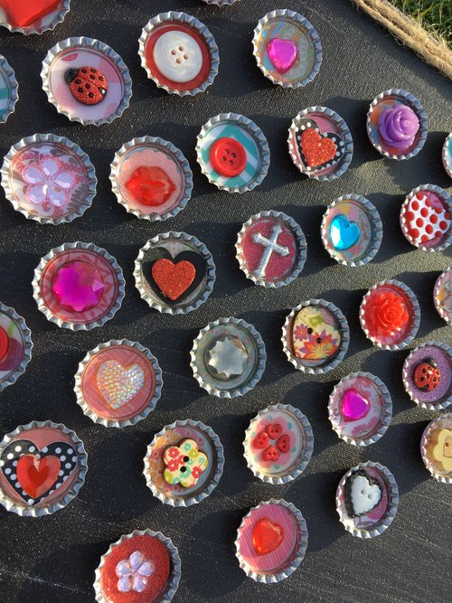 Embelished Bottlecap Heart on Black Wood Frame — Art by Busy Jenny