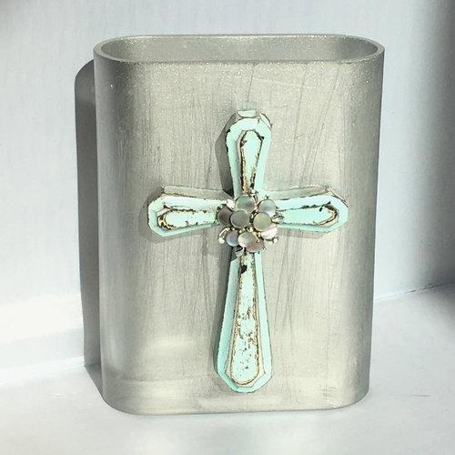 Silver Glass Vase With Seafoam Cross Art By Busy Jenny
