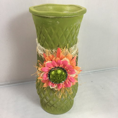 Small Green Glass Vase Art By Busy Jenny