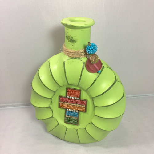 Green Glass Vase With Cross Art By Busy Jenny