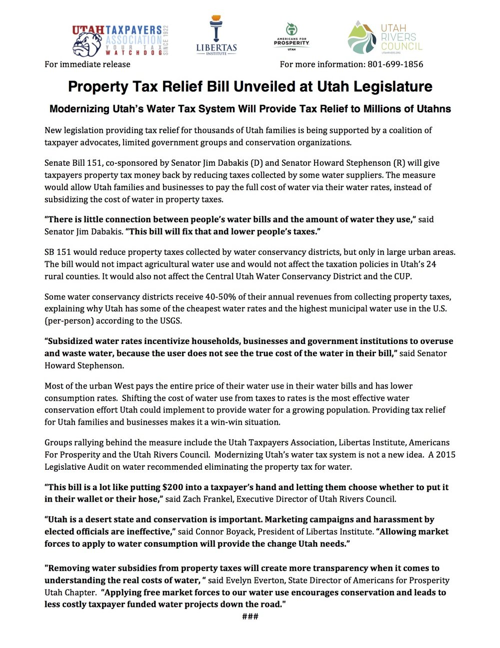 Property Tax Relief Bill Unveiled at Legislature