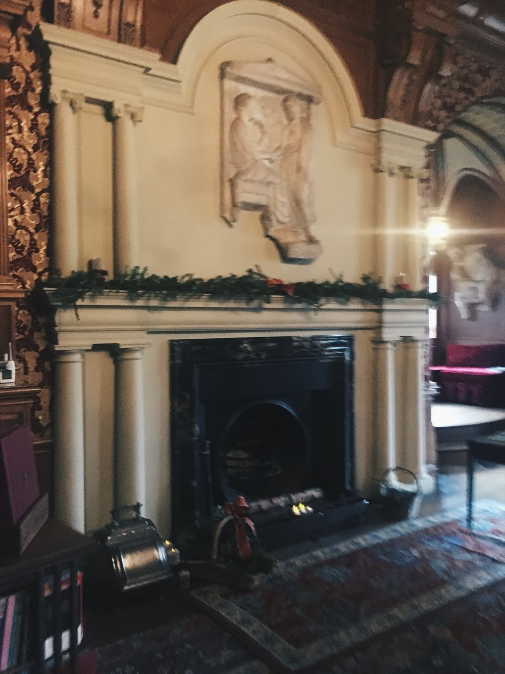 Lyme Park Christmas 2018 fireplace.JPG