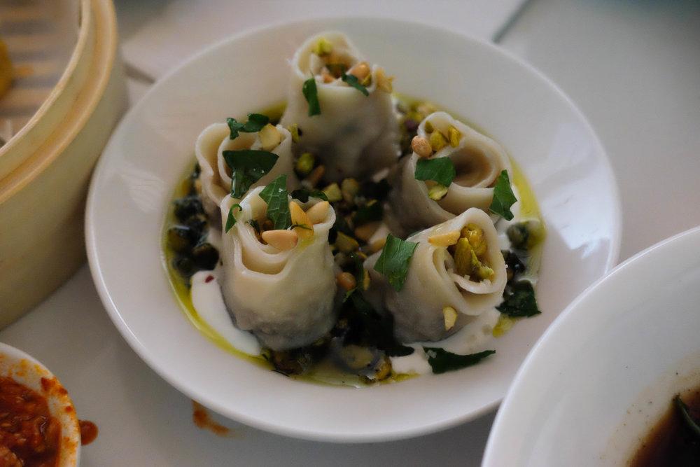lamb & pistachio pesto dumplings
