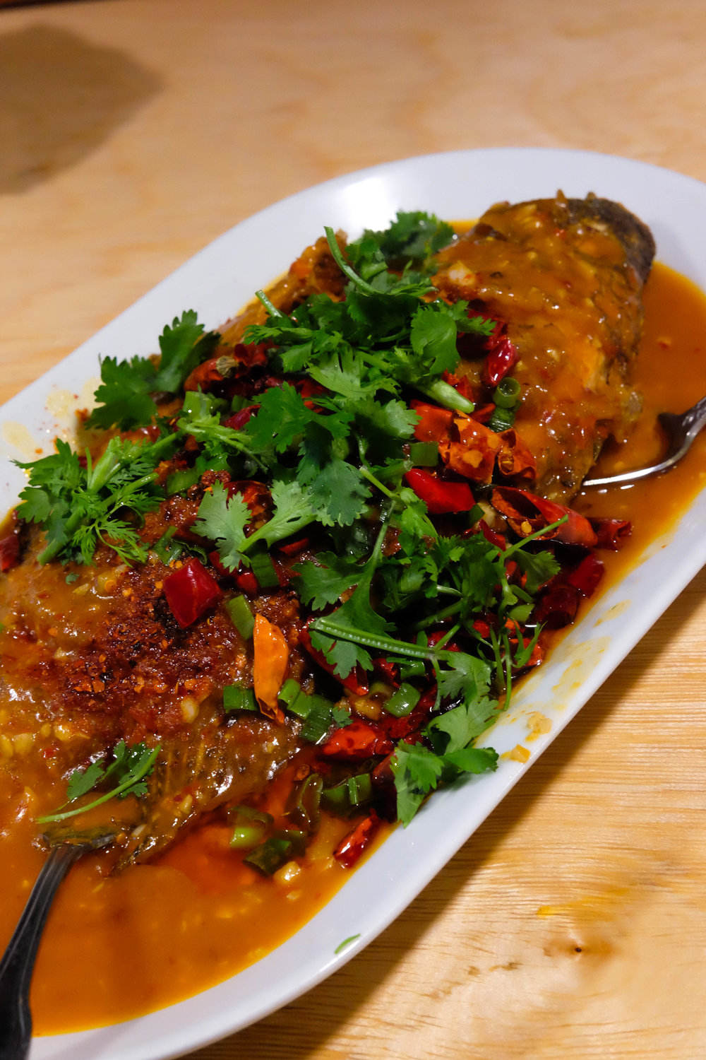 braised whole fish in chili oil