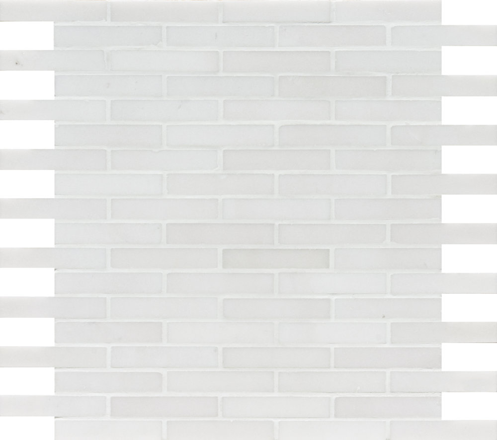 """MS01333 aspen white honed staggered mosaic 5/8""""x3"""" 12""""x12""""x3/8"""" sheets"""