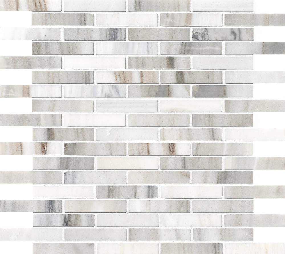 "MS01155 skyline modern polished staggered mosaic 5/8""x3"" 12""x12""x3/8"" sheets"