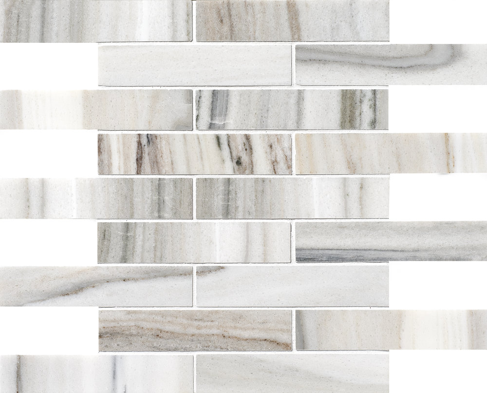 "MS01153 skyline modern polished staggered mosaic 1 1/4""x6"" 12""x12""x3/8"" sheets"