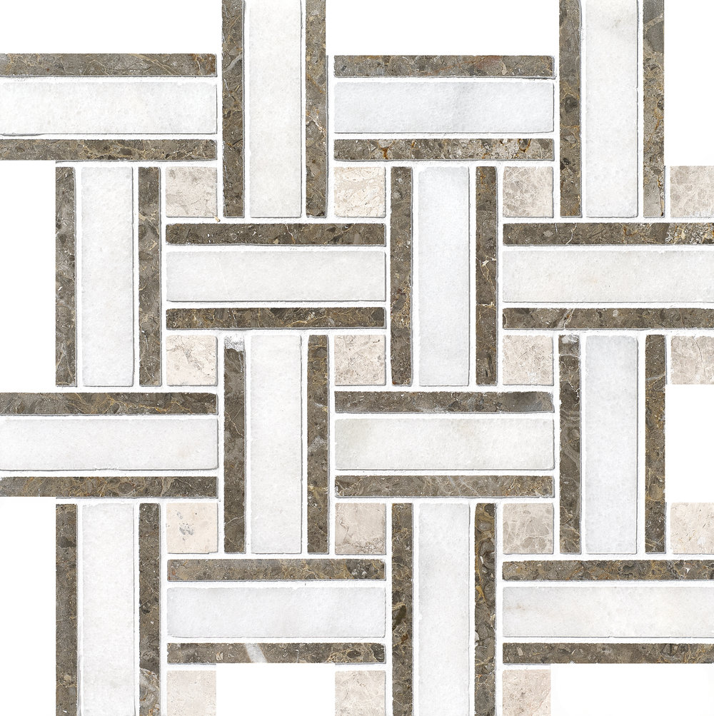 "MS01158 avalon modern polished lattice mosaic 12""x12""x3/8"" sheets"