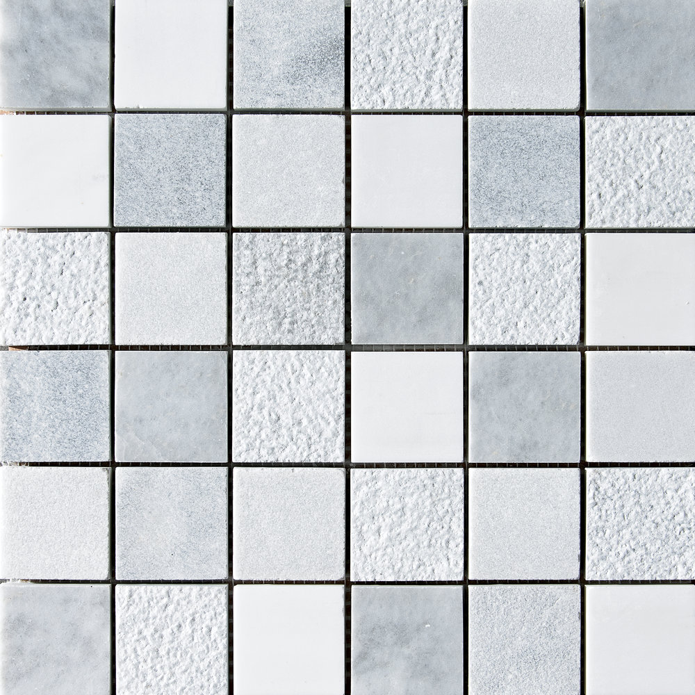 "MS01298 avenza & snow white & allure 2""x2"" textured mosaic 12""x12""x3/8"" sheets"