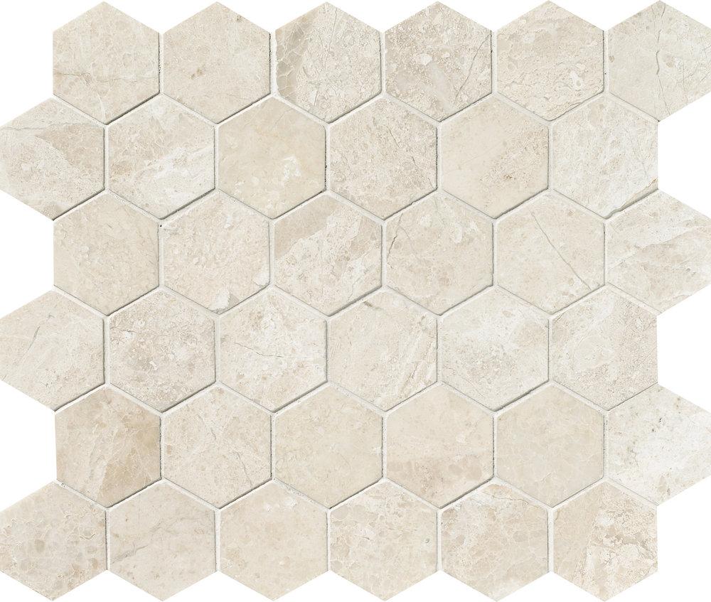 "MS00787 diana royal polished hexagon 2"" 10 3/8""x12""x3/8"" sheets"