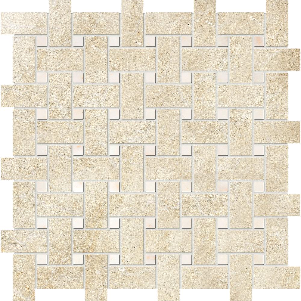"MS00824 casablanca & afyon sugar honed basket weave 1""x2"" 12""x12""x3/8"" sheets"