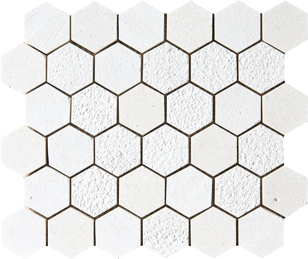 """MS01290 champagne full hexagon textured mosaic 10 3/8""""x12""""x3/8"""" sheets"""