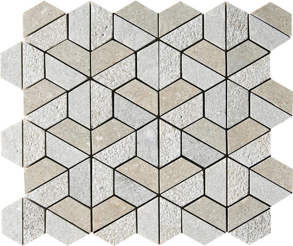 "MS01273 olive green 3d hexagon textured 3/8"" mosaic 10 3/8""x12""x3/8"""
