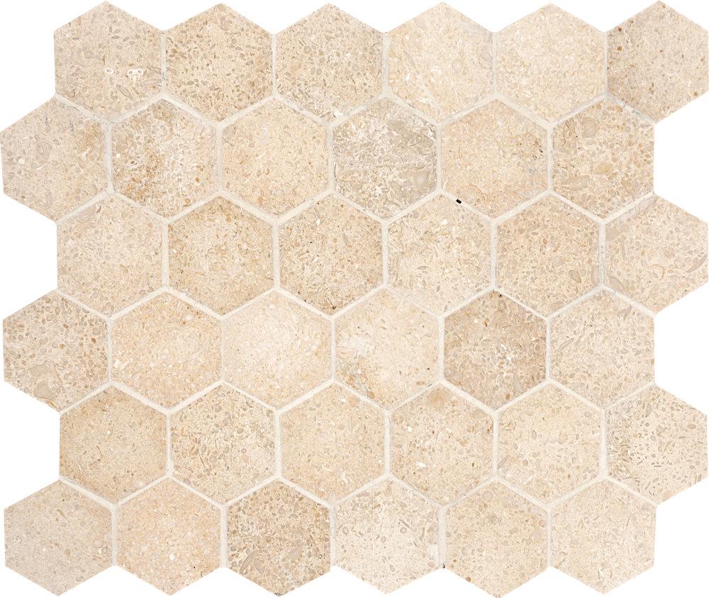 "MS00710 seashell honed hexagon 2"" 10 3/8""x12x3/8"" sheets"