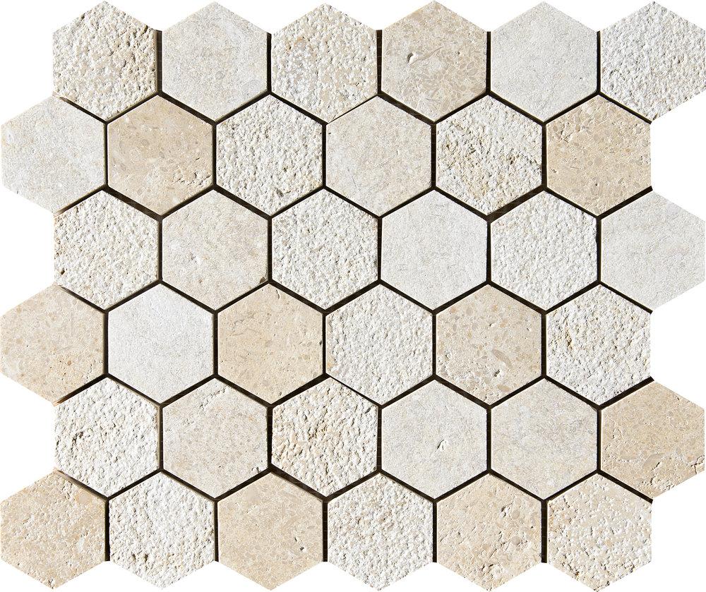 "MS01295 seashell full hexagon textured mosaic 10 3/8""x12""x3/8"" sheets"