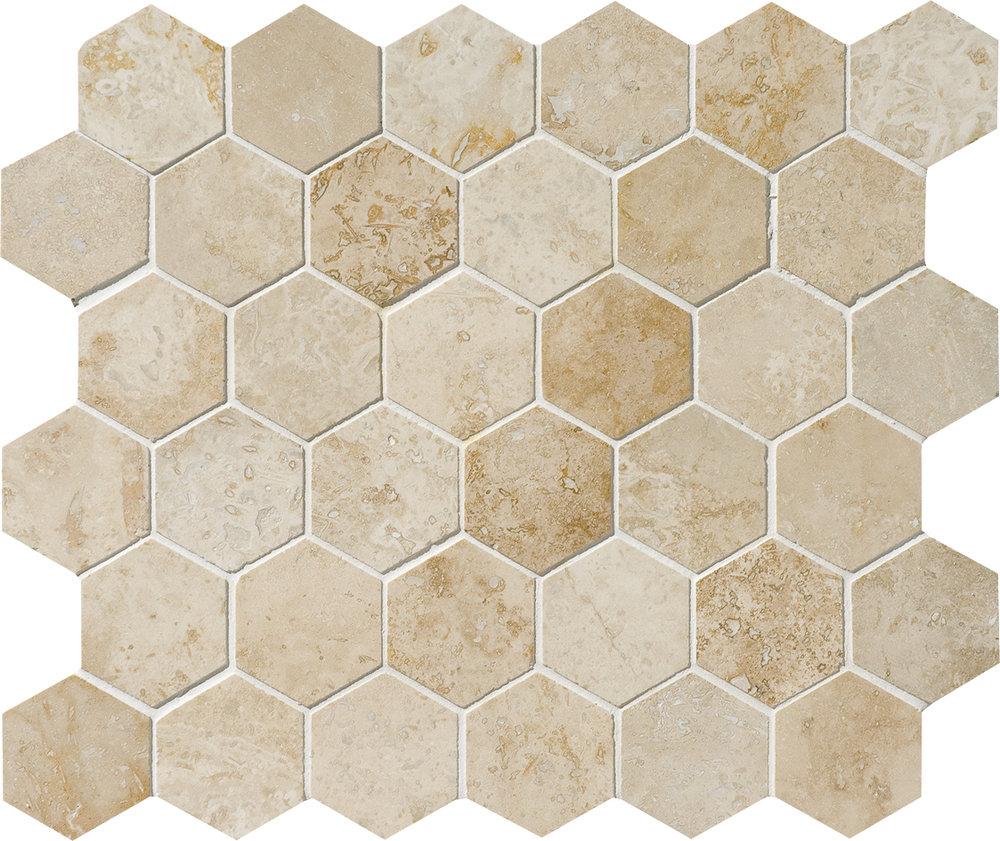 "MS00840 canyon honed & filled hexagon 2"" 10 3/8""x12x3/8"" sheets"